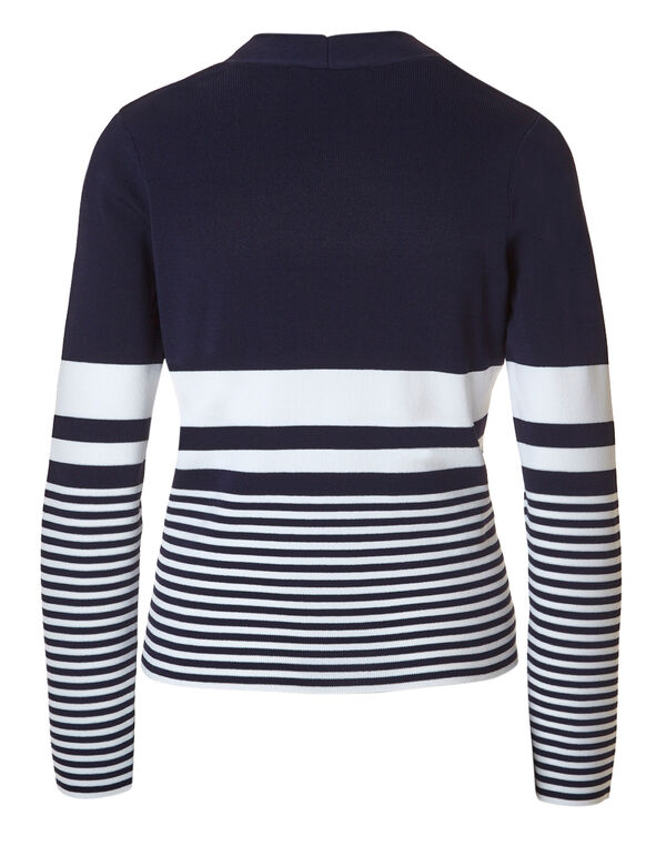 Navy Striped Crepe Cardigan, Navy/White, hi-res