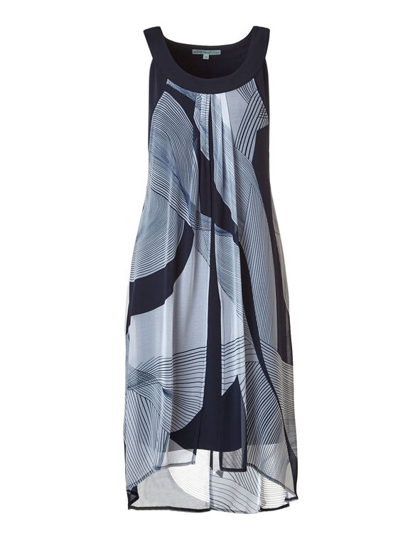 Chiffon Split Dress, Navy Print, hi-res