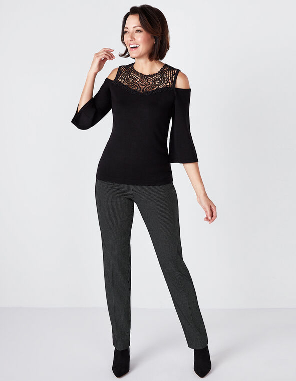 Black Crochet Cold Shoulder Sweater, Black, hi-res