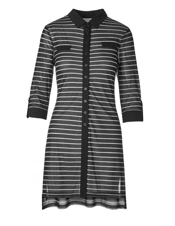 Striped Extra Long Henley Tunic, Black Strripe, hi-res