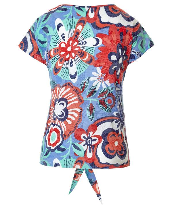 Floral Printed Tie Tee, Blue, hi-res