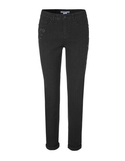 Black Floral Slim Leg Jean, Black, hi-res