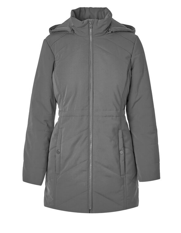 Light Grey Long Polyfill Coat, Light Grey, hi-res