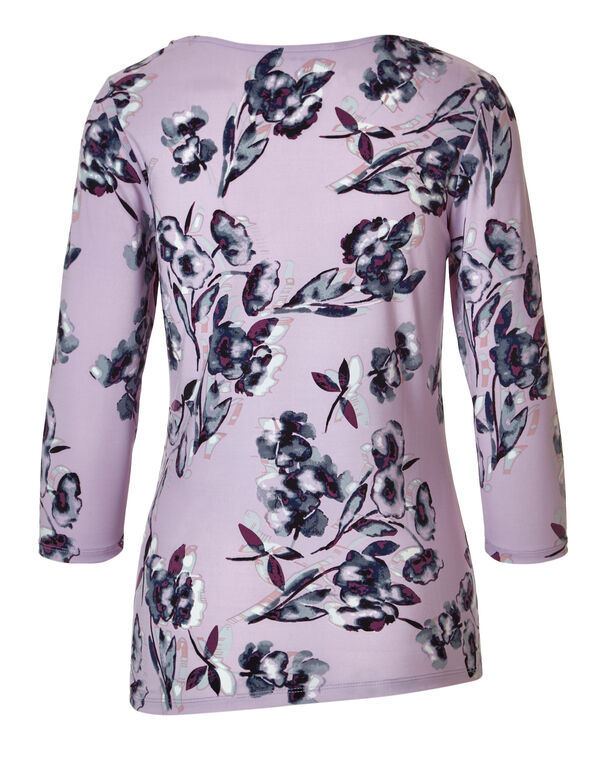 Orchid Print Side Tie Top, Orchid Print, hi-res