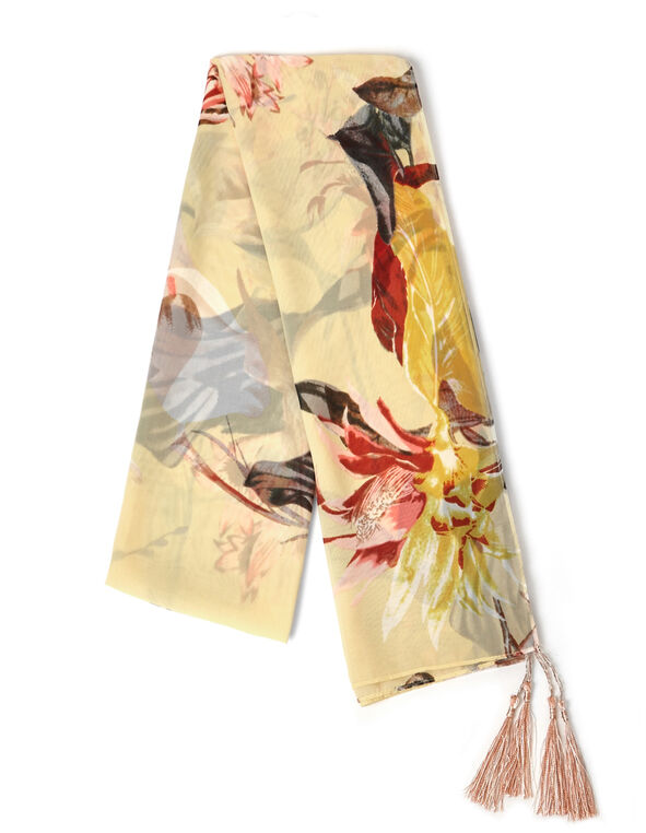 Yellow Floral Tassel Scarf, Yellow, hi-res