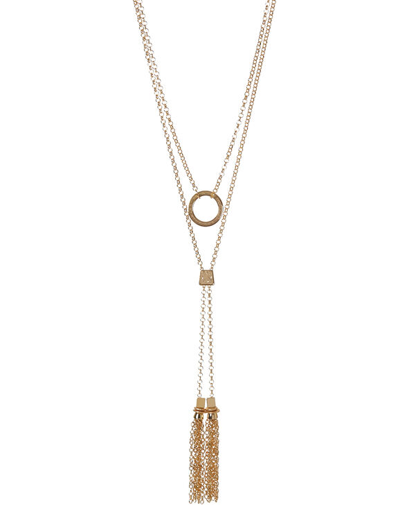 Gold Row Tassel Necklace, Gold, hi-res