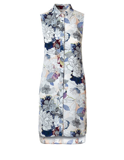 Long Sleeveless Floral Tunic, White/Blue/Pink, hi-res