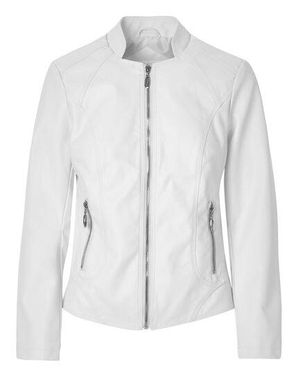 White Scuba Faux Leather Jacket, White, hi-res