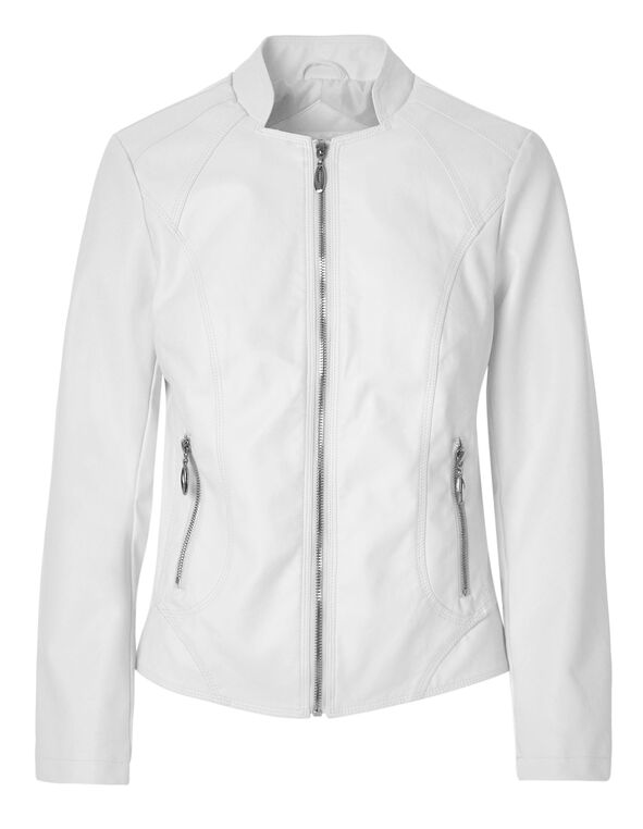 White Scuba Faux Leather Jacket, White, hi-res