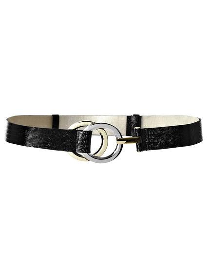 Double Ring Adjustable Belt, Black/Gold/Rhodium, hi-res