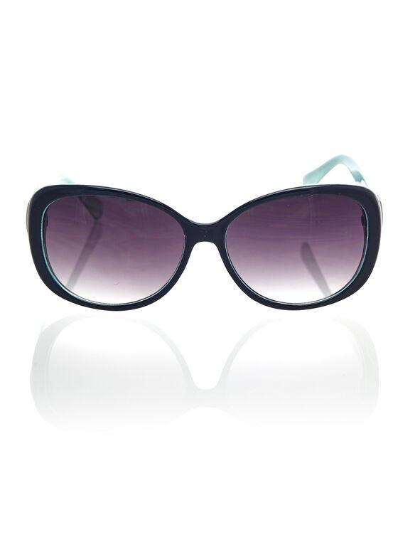 Blue Patterned Oval Sunglasses, Blue, hi-res
