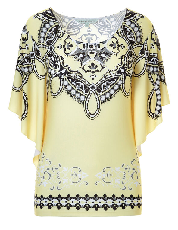 Yellow Printed Caftan Top, Yellow/White, hi-res