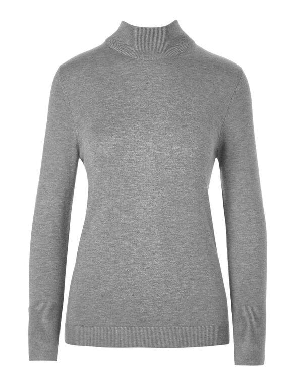 Charcoal Melange Mock Neck Sweater, Charcoal Melange, hi-res
