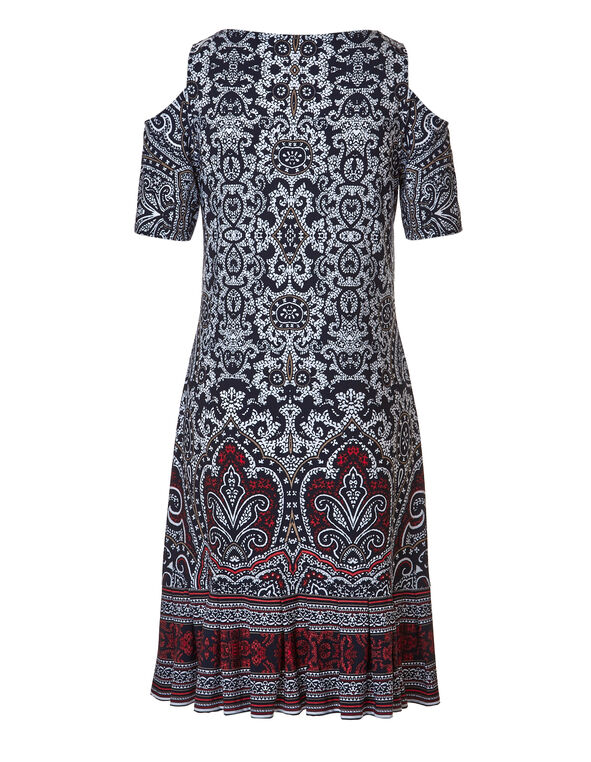 Printed Pleated Bottom Dress, NAVY/RED, hi-res