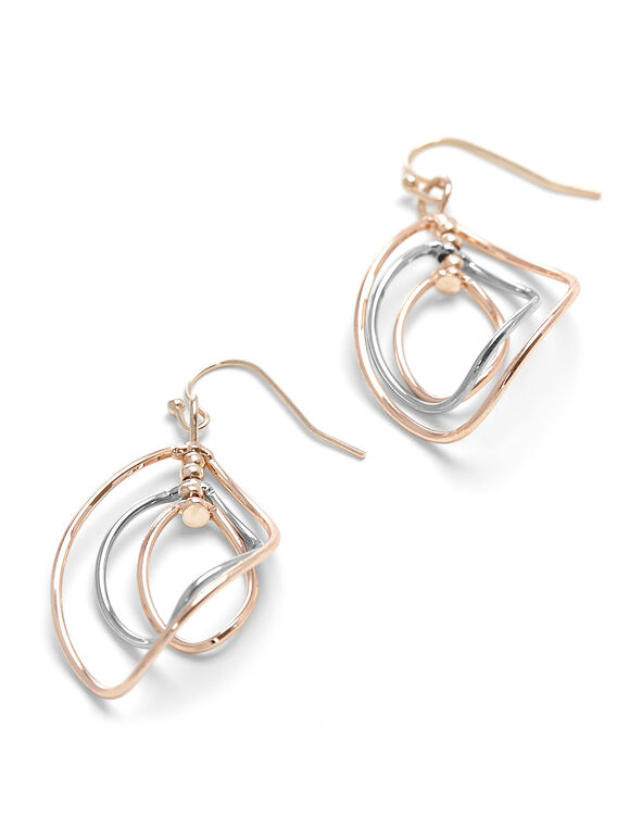 2 Tone Sprial Earring, Rose Gold/Silver, hi-res