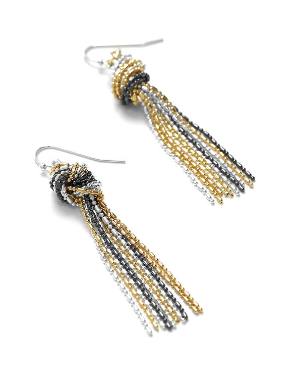 Tassel Knot Drop Earring, Silver/Gold/Hematite, hi-res