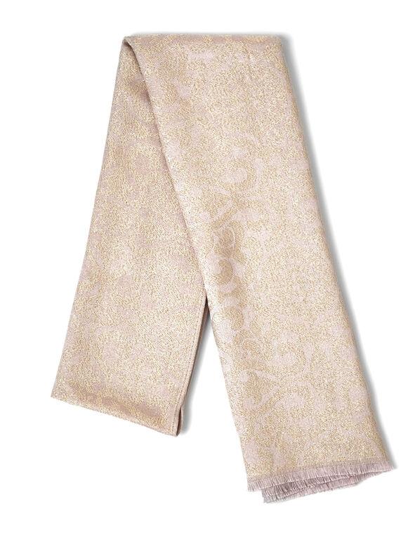 Pink Scroll Lurex Scarf, Pink, hi-res