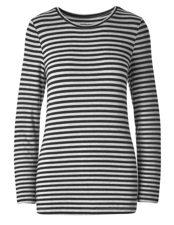 Light Grey Striped Crew Neckline Top, Light Grey, hi-res