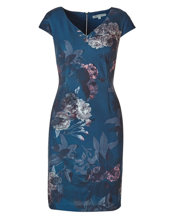 Teal Floral Dress, Teal, hi-res