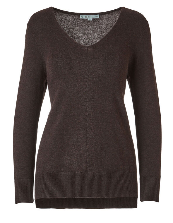 Brown Pullover Sweater, Brown, hi-res
