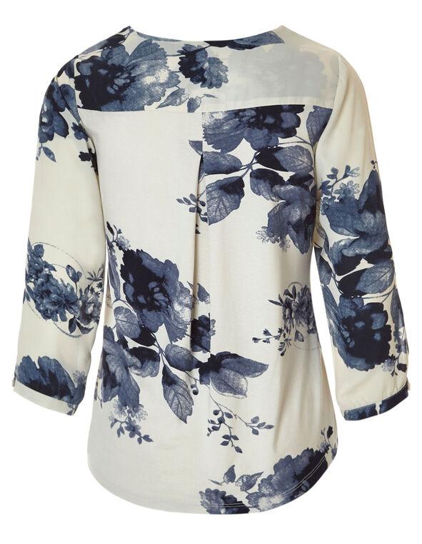 Navy Floral Flyaway Blouse, Navy/Stone, hi-res