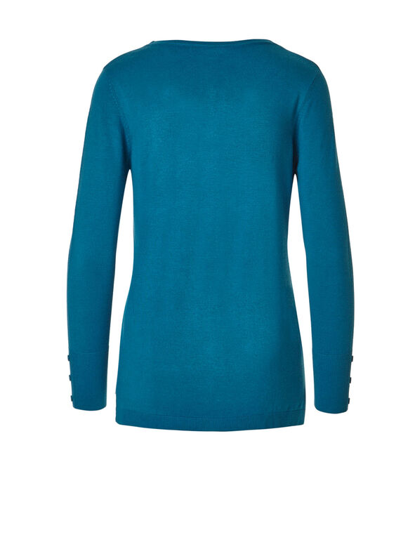 Bright Turquoise V-Neck Sweater, Bright Turquoise, hi-res