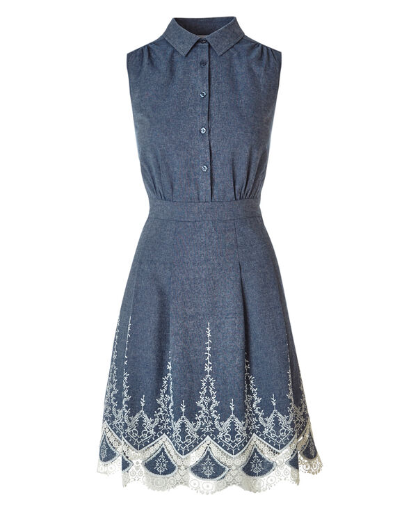 Chambray Embroidered Dress, Chambray, hi-res