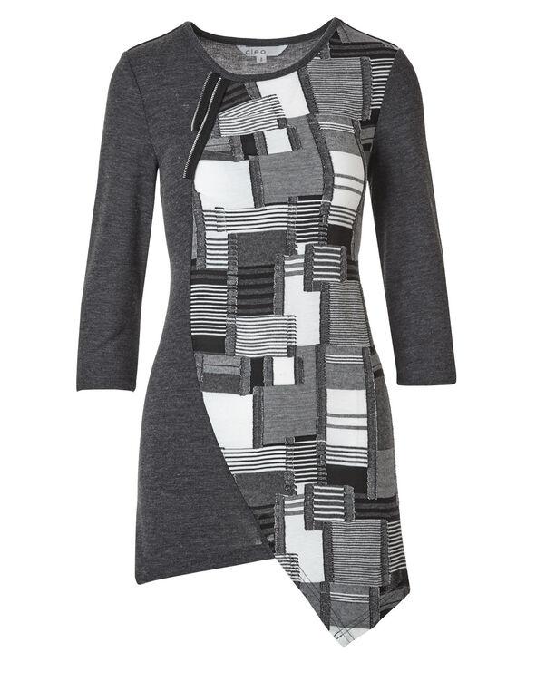 Grey Mixed Media Hacchi Top, Grey, hi-res