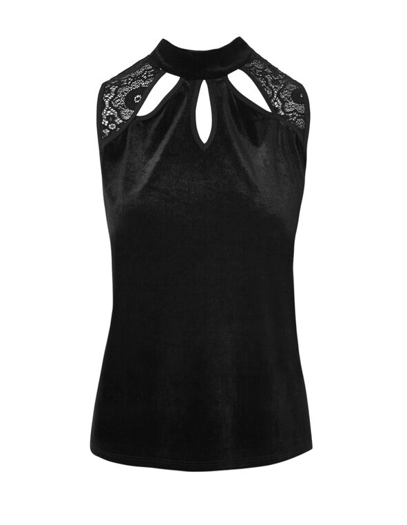 Velvet Mock Neck Top, Black, hi-res