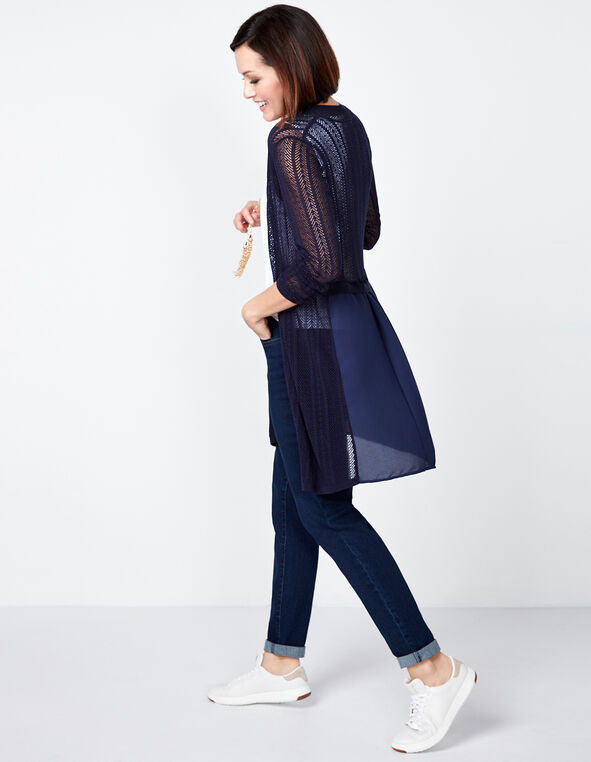 Pointelle Chiffon Long Cardigan, Navy, hi-res