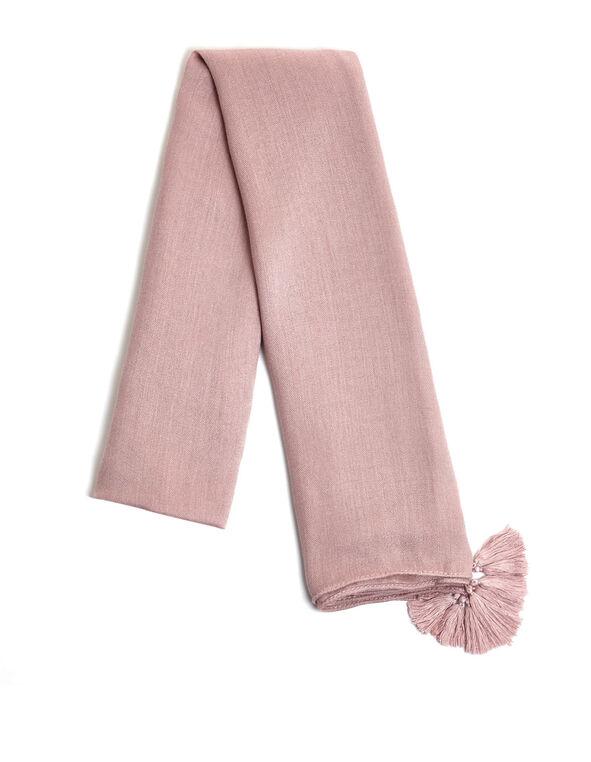 Dusty Pink Tassel Scarf, Pink, hi-res