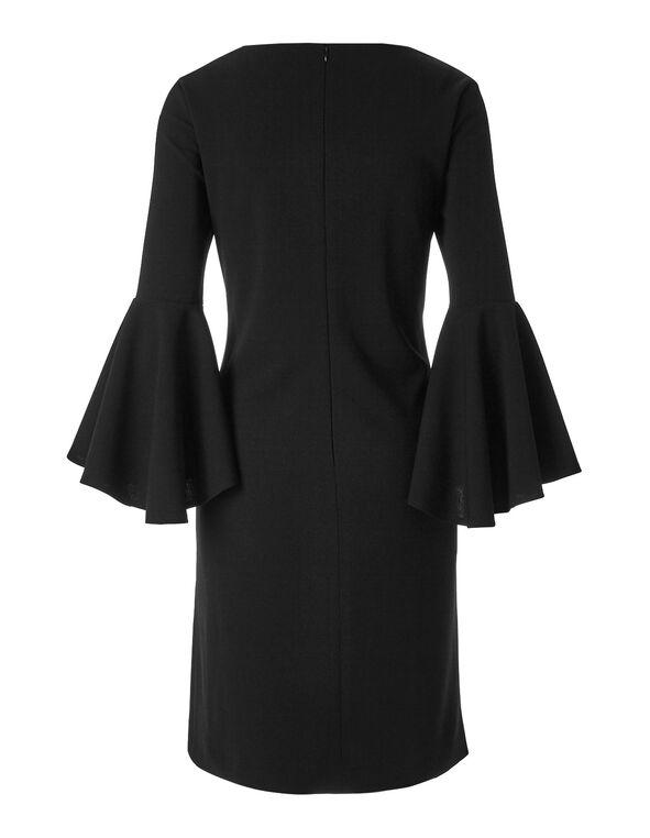 Black Draped Sleeve Shift Dress, Black, hi-res