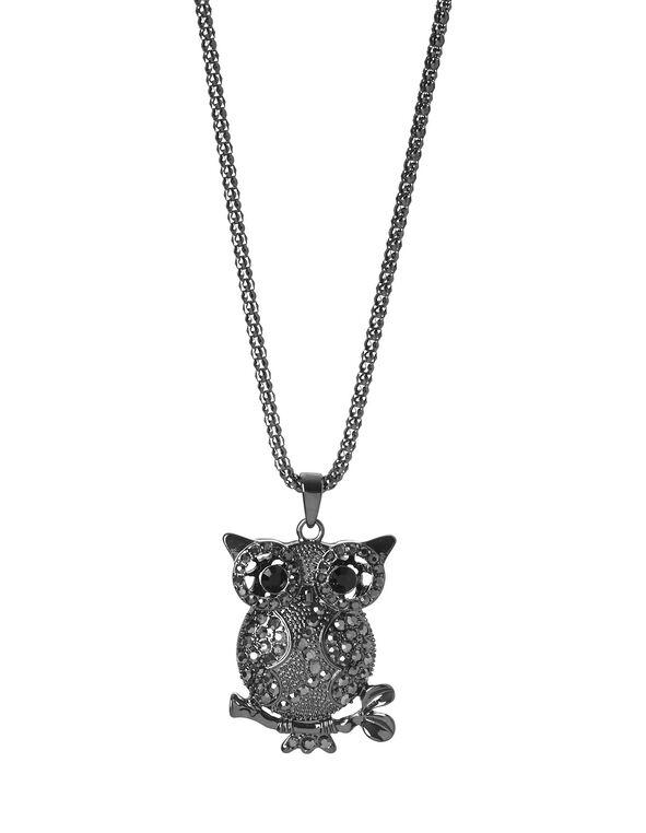 Hematite Owl Pendent Necklace, Hematite, hi-res
