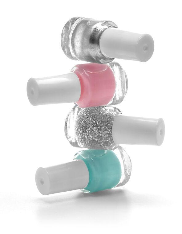 Silver 4 Piece Mini Nail Polish, Silver, hi-res