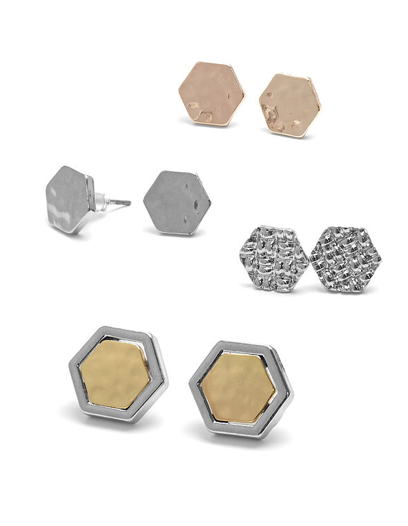 Convertible Hexagon Earring Set, Multi, hi-res
