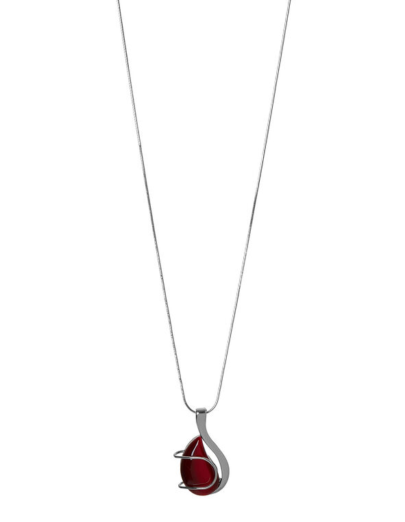 Red Artisinal Cat Eye Necklace, Red, hi-res