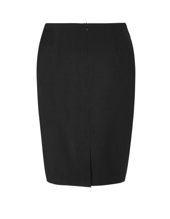Black Side Grommet Pencil Skirt, Black, hi-res
