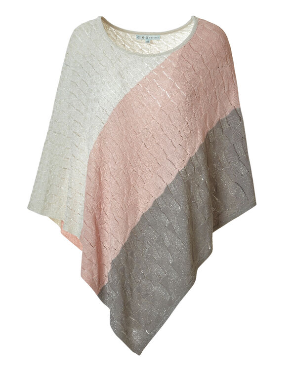 Seashell Colour Block Poncho, Sheashell Pink, hi-res