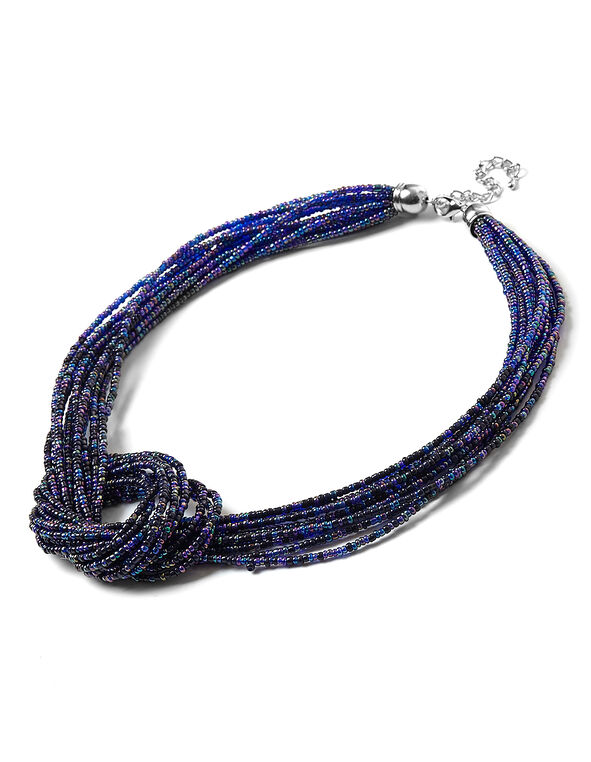 Blue Seed Bead Necklace, Blue, hi-res