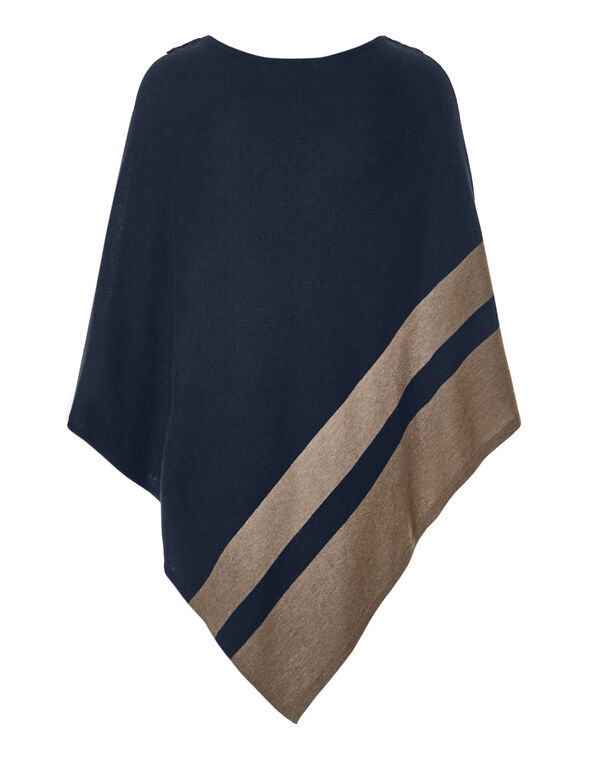 Stripe Button Poncho Sweater, Navy/Nude, hi-res