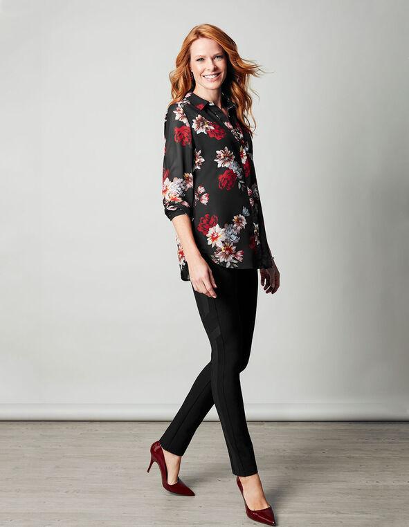Red Floral Sheer Blouse, Red Floral, hi-res