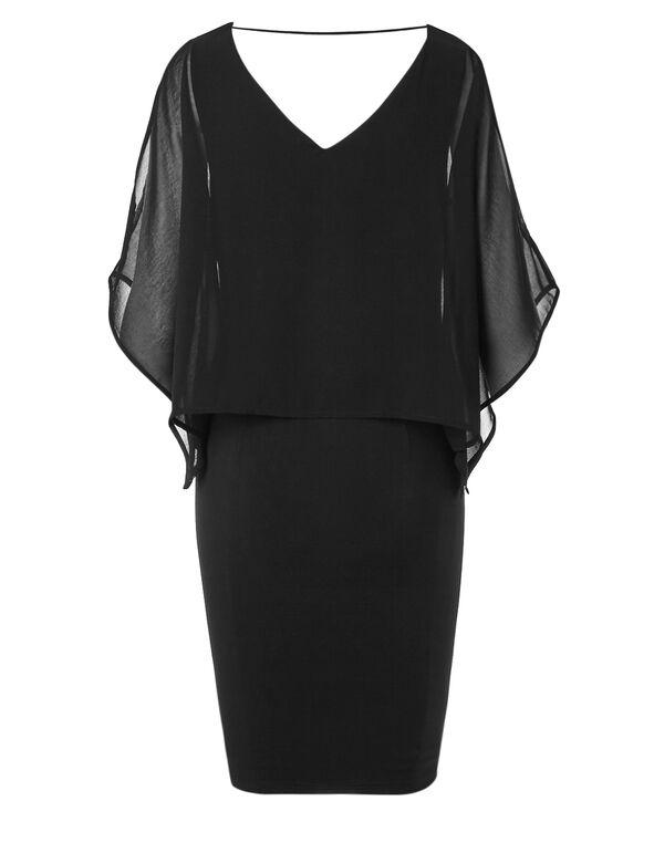 Black Floral Popover Dress, Black, hi-res