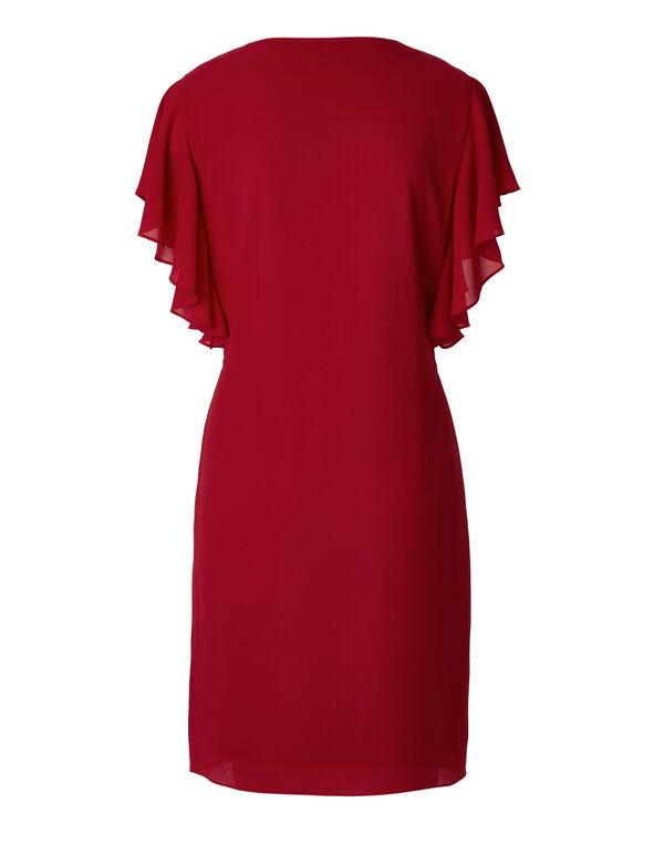 Red Flutter Sleeve Dress, Red, hi-res