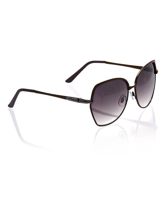 Brown Metal Frame Sunglasses, Brown, hi-res