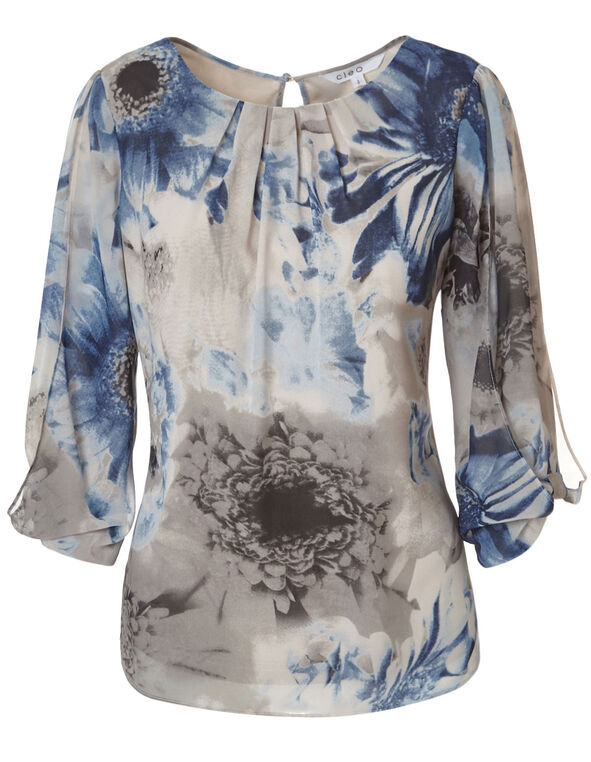 Stone Printed Butterfly Blouse, Navy/Stone, hi-res