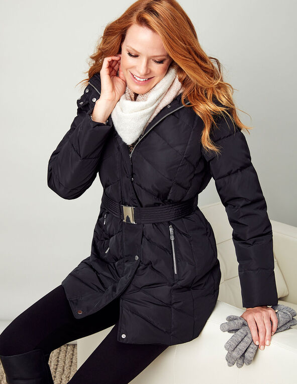 Black Short Belted Down Jacket, Black, hi-res