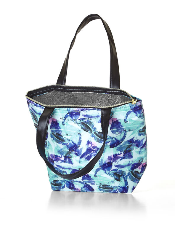 Feather Print Lunch Tote, Turquoise/Lagoon/Peacock/Rosy, hi-res