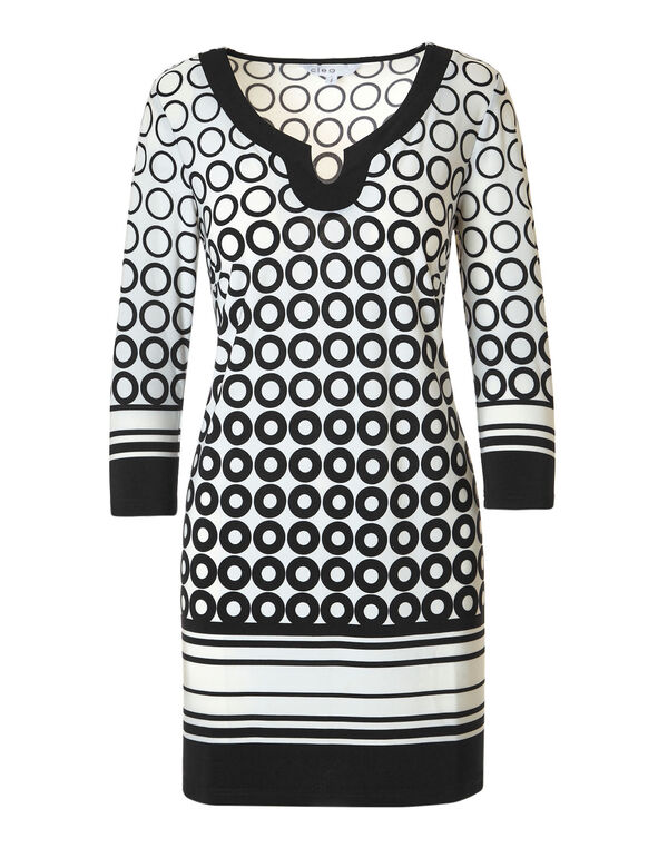 Black Printed Tunic, Ivory/Black, hi-res