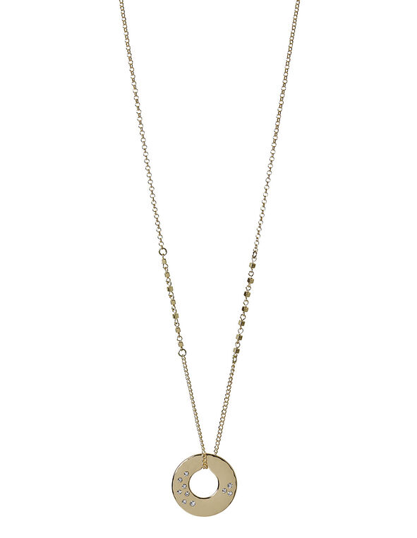 Gold Hammered Necklace, Gold, hi-res