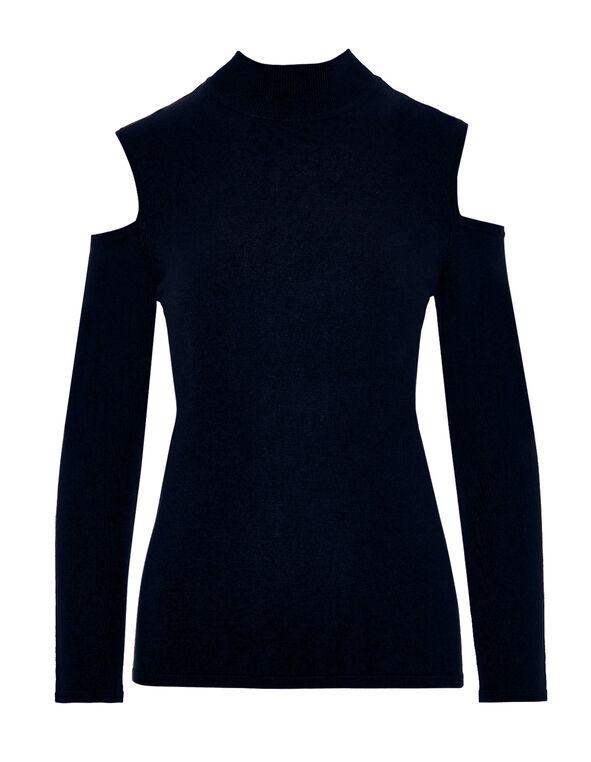 Navy Cold Shoulder Sweater, Navy, hi-res